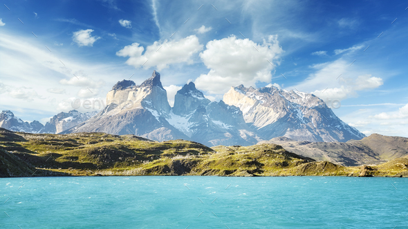 Pehoe Lake and Los Cuernos, Chile. - Stock Photo - Images