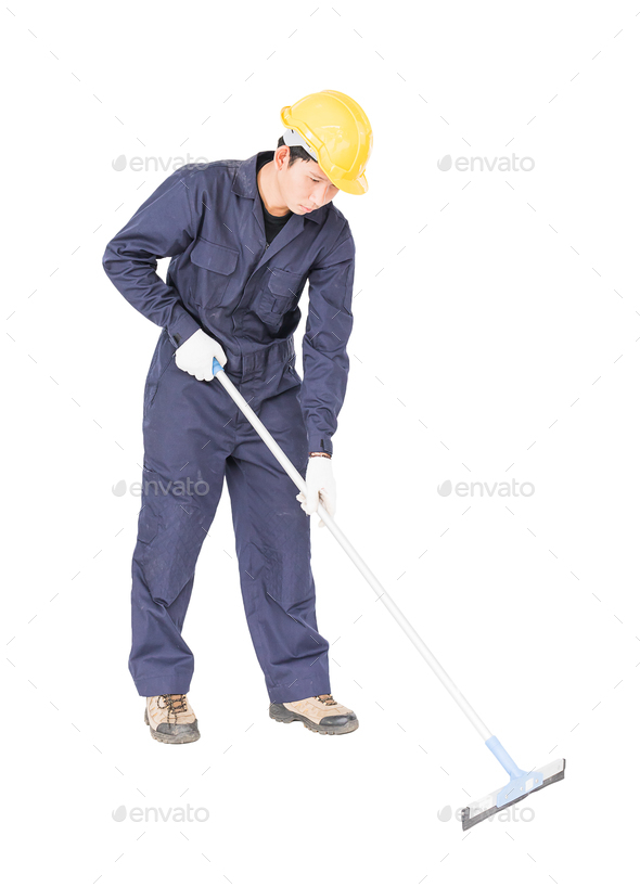 Young man hold squeegee window cleaner - Stock Photo - Images