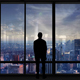 Business Man Silhouette In Front Of Panoramic Window - VideoHive Item for Sale