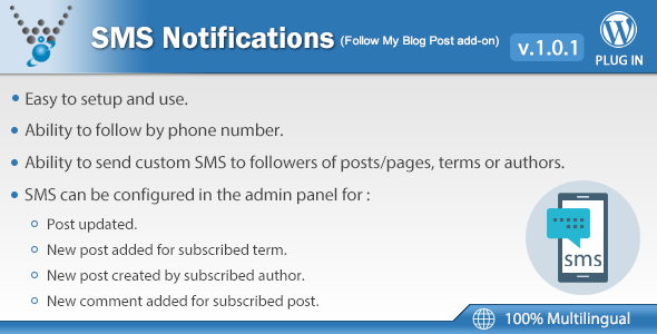 SMS Notifications - Follow My Blog Post add-on - CodeCanyon Item for Sale