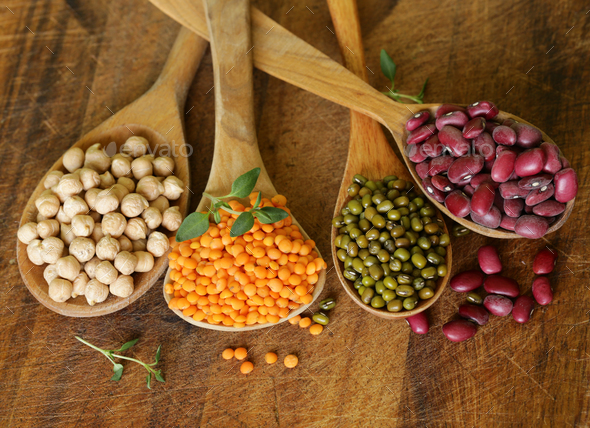Various Kinds of Legumes - Stock Photo - Images