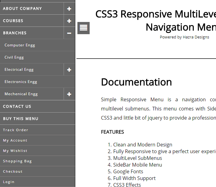 CSS3 Responsive MultiLevel DropDown Navigation Menu