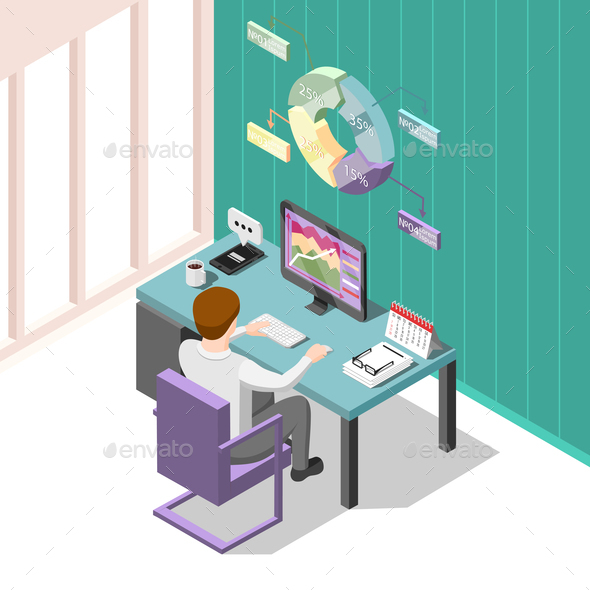 Online Trading Isometric Background - Concepts Business