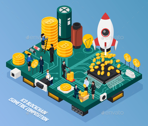 ICO Blockchain Isometric Composition - Concepts Business