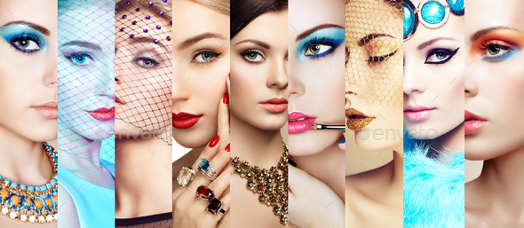 Beauty collage. Faces of women - Stock Photo - Images