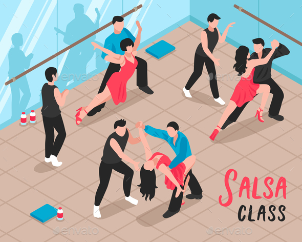 Salsa Class People Isometric Illustration - Sports/Activity Conceptual