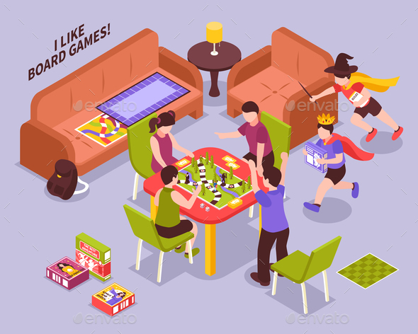 Board Games Kids Isometric Illustration - People Characters