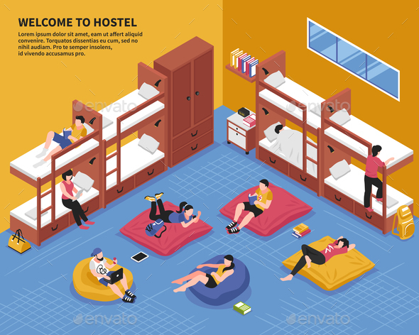Hostel Bedroom Isometric Illustration - Buildings Objects
