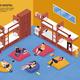 Hostel Bedroom Isometric Illustration