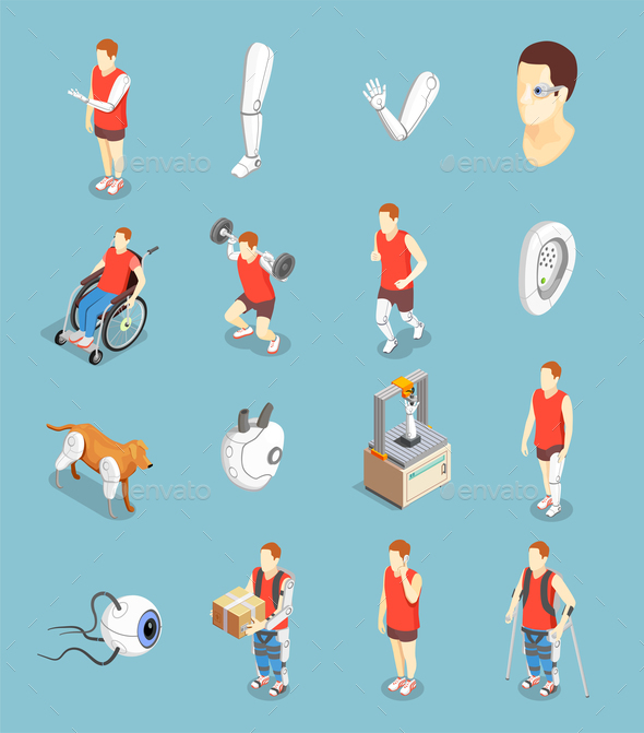 Bionics Technology Isometric Icons - Health/Medicine Conceptual