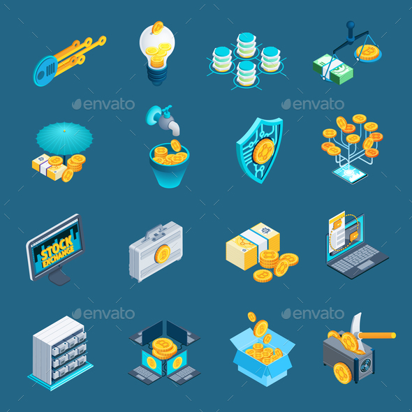 Cryptocurrency Blockchain Isometric Icons - Concepts Business