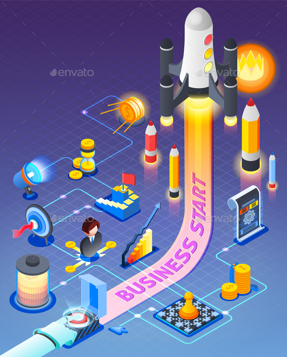 Business Start Isometric Composition - Concepts Business