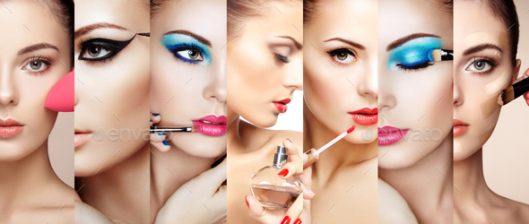 Beauty collage faces of women - Stock Photo - Images