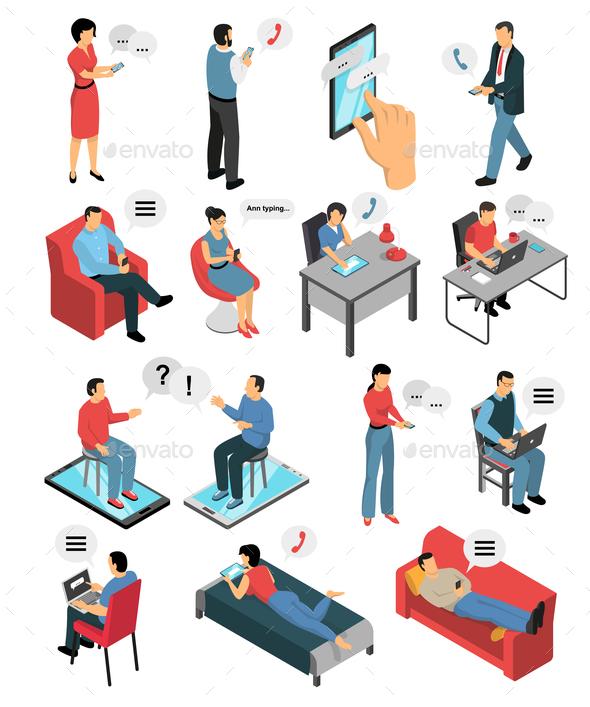 People Chatting Isometric Icons Set - Communications Technology