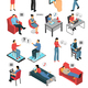 People Chatting Isometric Icons Set