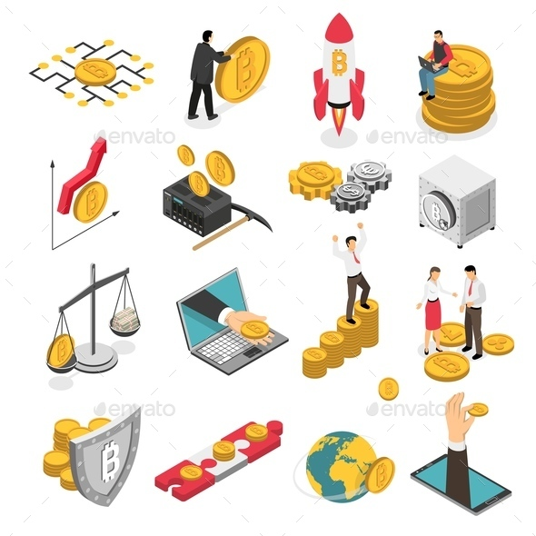 Cryptocurrency Isometric Icons Set - Concepts Business