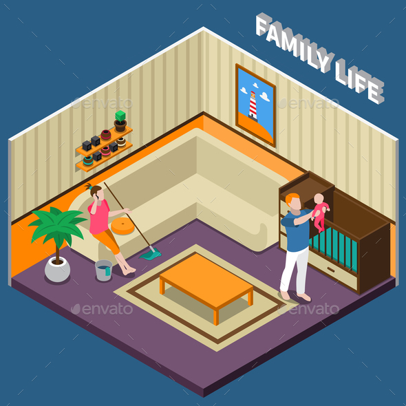 Family Life Isometric Composition - People Characters