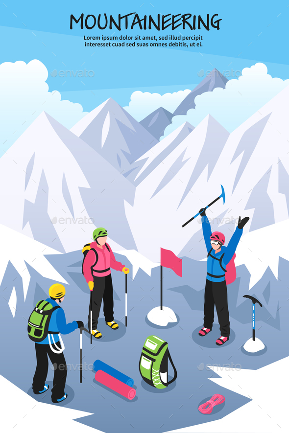 Alpinists on Top Background - Sports/Activity Conceptual