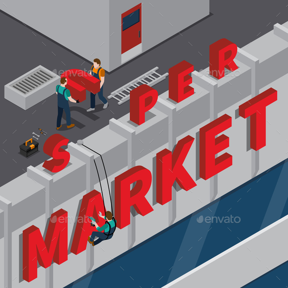 Signboard Installation Isometric Composition - Buildings Objects