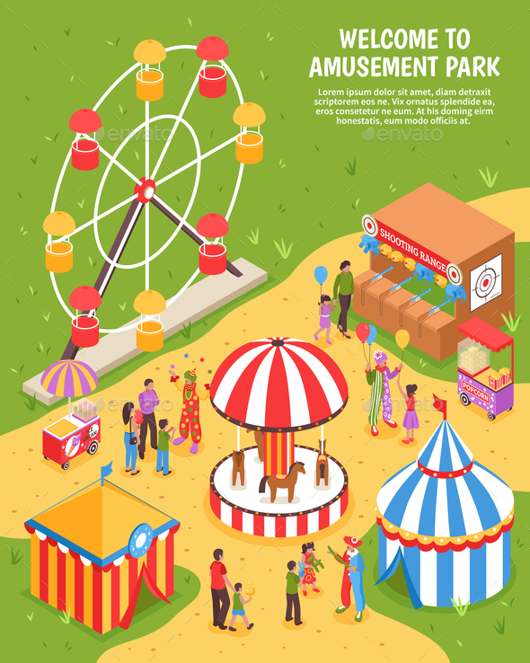 Amusement Park Isometric Poster - Industries Business