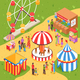 Amusement Park Isometric Poster