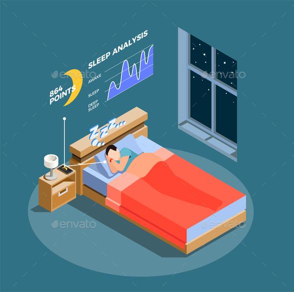 Sleep Analysis Isometric Composition - People Characters