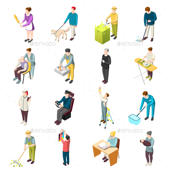 Domestic Servant Isometric Icons - People Characters
