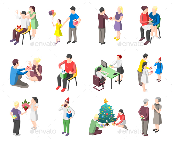 People With Gifts Isometric Icons - People Characters