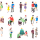 People With Gifts Isometric Icons
