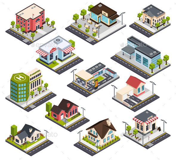 Isometric City Buildings Set - Buildings Objects