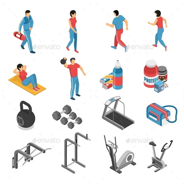 Fitness Health Isometric Icons Set - Sports/Activity Conceptual