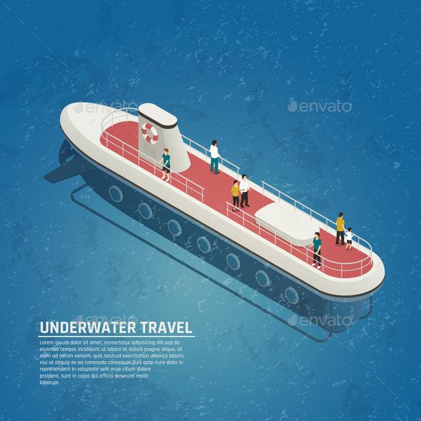 Submarine Underwater Travel Isometric Composition - Travel Conceptual