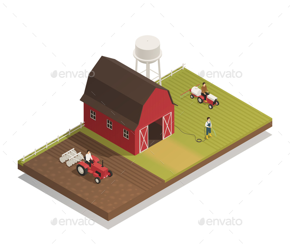 Gardening Farm Machinery Isometric Composition - Buildings Objects