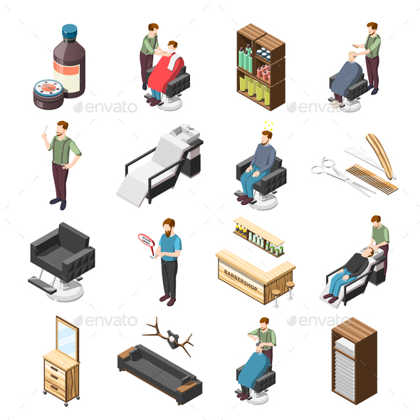 Barbershop Isometric Icons - Services Commercial / Shopping