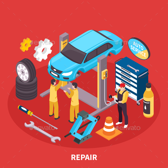 Auto Service Isometric Illustration - Services Commercial / Shopping
