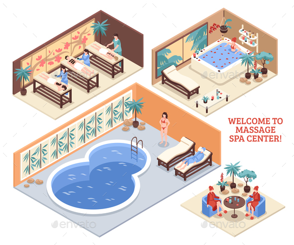 Set of Isometric Spa Compositions - Health/Medicine Conceptual
