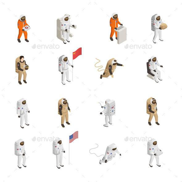 Astronauts Cosmonauts Spacesuit Isometric Set - Miscellaneous Vectors