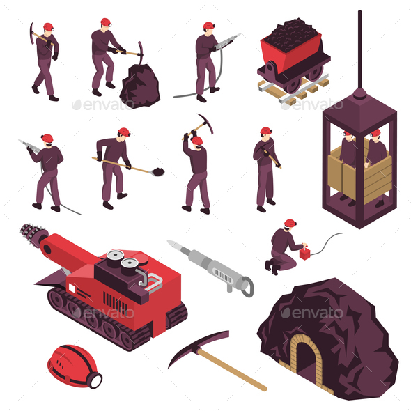 Mining Industry Isometric Icons Set - Industries Business