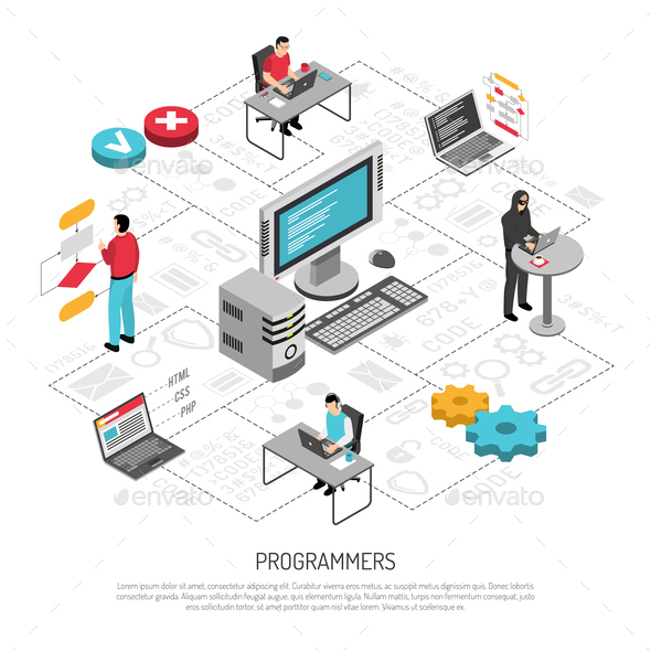 Programmers Work Isometric Background Composition - Computers Technology