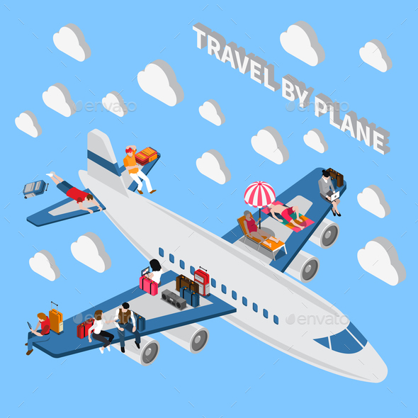 Travelling People Isometric Concept - Travel Conceptual
