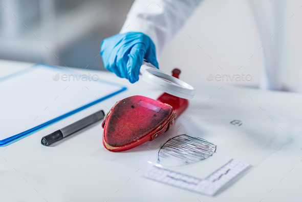 Forensic science expert examining objects from a crime scene - Stock Photo - Images