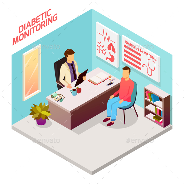 Diabetes Doctor Patient Isometric Composition - People Characters