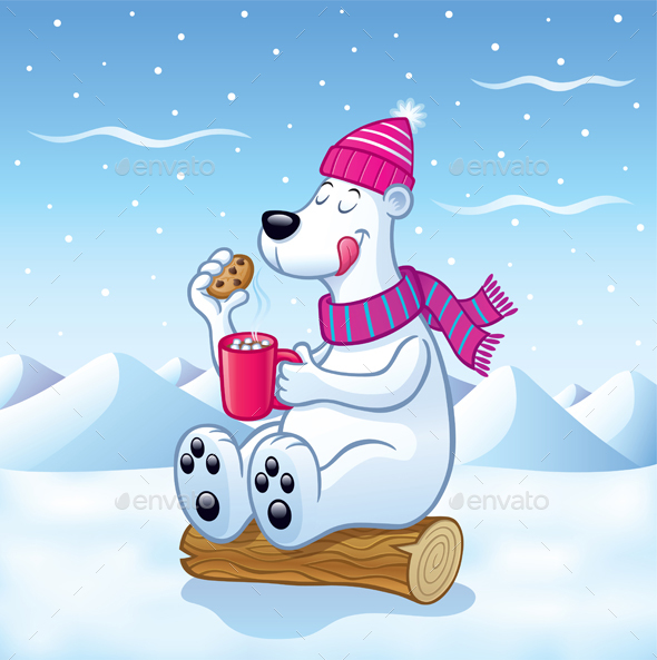 Polar Bear with Hot Cocoa - Animals Characters