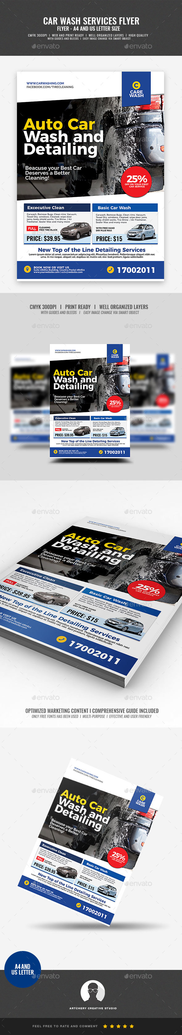 Car Wash Services Promotional Flyer - Corporate Flyers