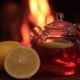 Hot Tea with Lemon Near Fireplace Magic Cozy Evening Concept. - VideoHive Item for Sale