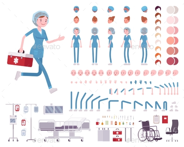 Female Nurse in Hospital Uniform Character - Health/Medicine Conceptual