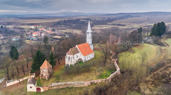 Altana fortified church in Transylvania, Romania - Stock Photo - Images