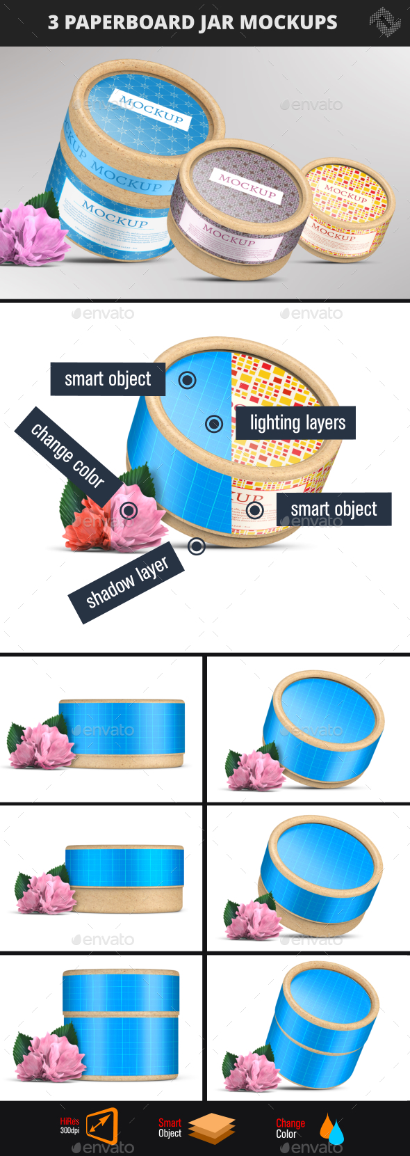 Paperboard Container Jar Flush Fit Cap Mockup - Packaging Product Mock-Ups