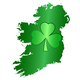 Green shamrock symbol and Ireland silhouette on white background - PhotoDune Item for Sale