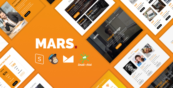 Mars Email - Responsive Email Template with MailChimp Editor, StampReady & Online Builder - Newsletters Email Templates